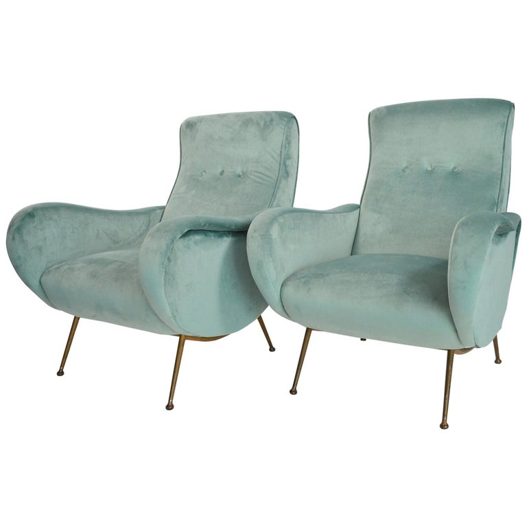 Italian Midcentury Armchairs Lounge Chairs Restored in Mint Green Velvet, 1950s