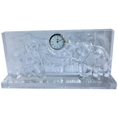 Baccarat Crystal Mantel Clock with Elephants