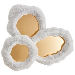 'Sea Anemone' Mirror, Includes Three Mirrors with Brass Finish, Large Size