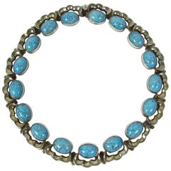 Mexican Murano Glass and Sterling Silver Collar Necklace