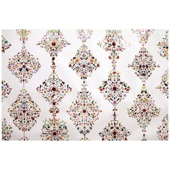 Signature Damask Wallpaper with Multicolored, Hand Applied Stickers