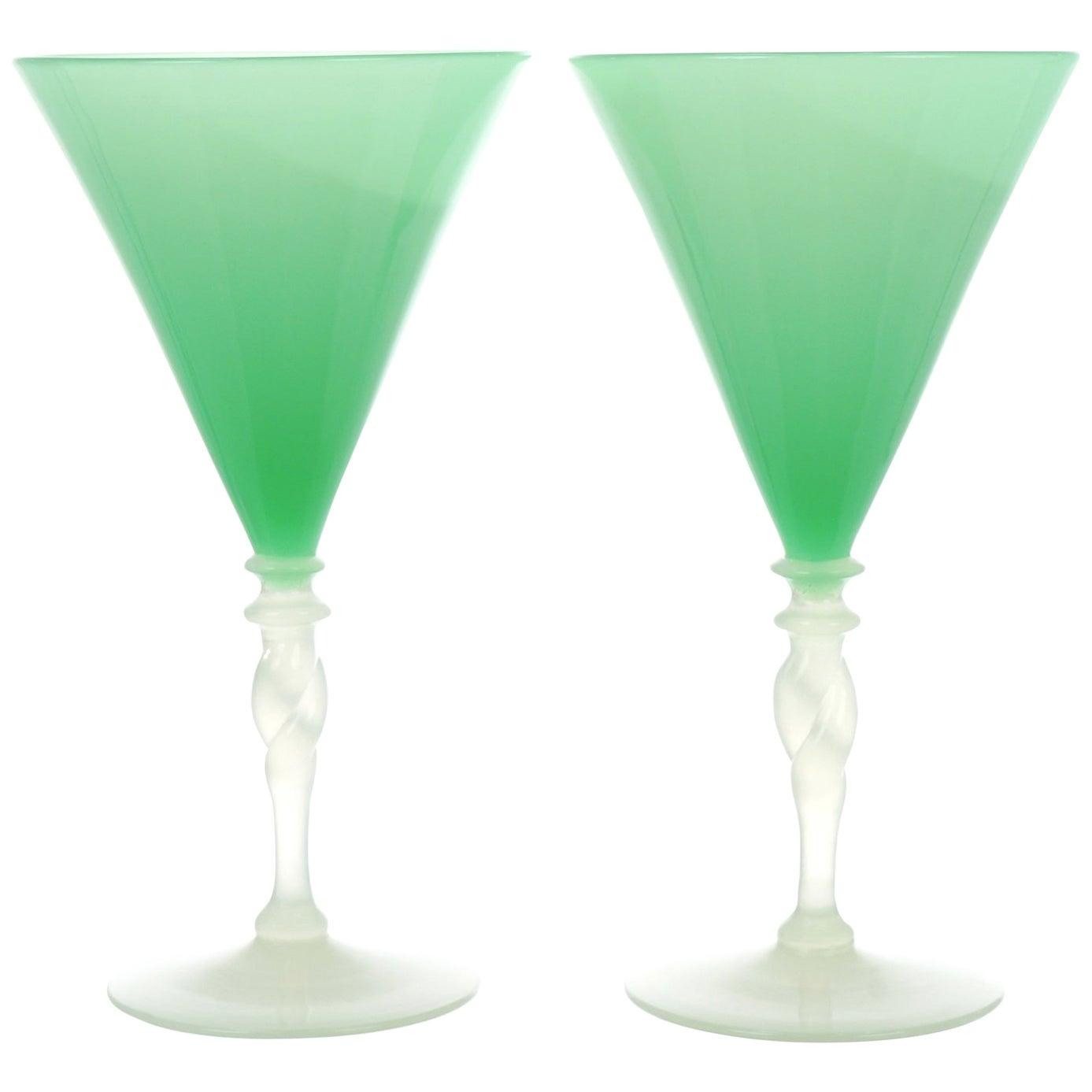 12 Steuben Art Deco Jade and Alabaster Water Goblets