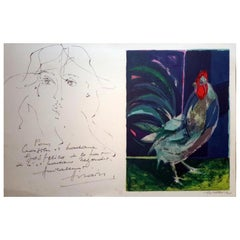 """Camille Hilaire, """"Portrait of a Woman"""", Signed Drawing in Ink on Lithograph"""