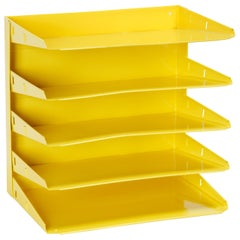 Retro Office Mail Organizer, Refinished in Yellow