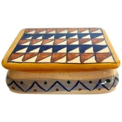 Italian Ceramic Box with Triangle Motif