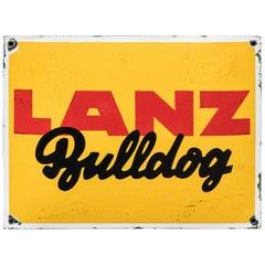 Vintage Enameled Advertising Sign Lanz Bulldog