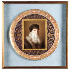 Hand Painted Porcelain Portrait Charge of Leonardo Da Vinci