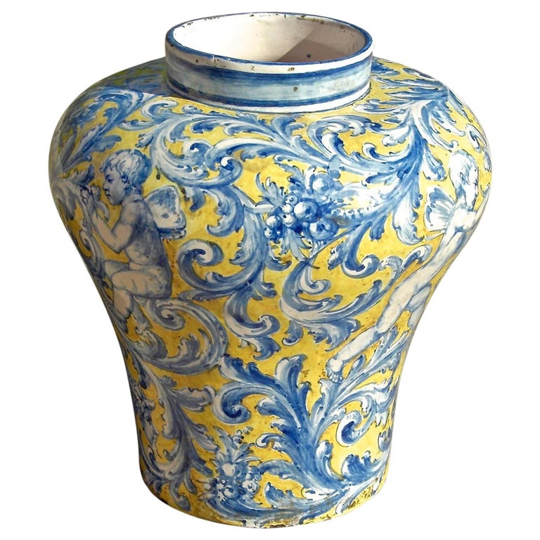 Late 19th Century Painted Talavera Majolica Jar from Spain