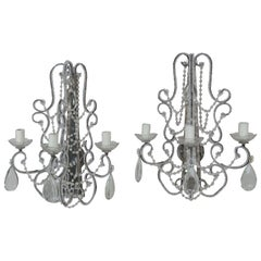 Italian Style Crystal Beaded Mirrored Sconces, a Pair