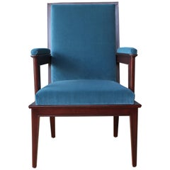English Mahogany Armchair in Velvet, 1920s