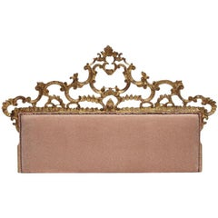 Italian Rococo Style Carved Giltwood King Headboard Bed