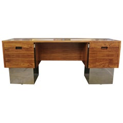 Rosewood and Chrome Desk by Milo Baughman