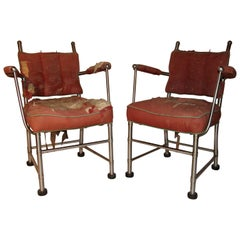 Warren McArthur Stainless Steel Armchairs Style No. 1130 Au 1935/36 Unique Pair