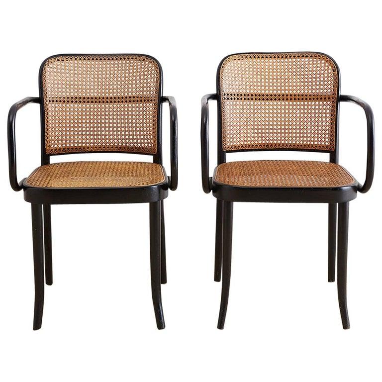 Josef Hoffman for Stendig Black Bentwood Prague Chairs For Sale