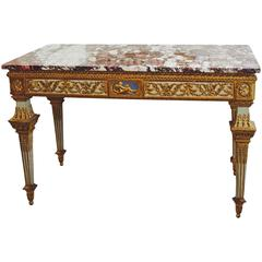 Fine North Italian parcel-gilt painted console table, Turin, late 18th Century