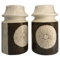Rare Pair of Swedish Upsala-Ekeby Handmade Ceramic Brown, Cream Vases, 1960s