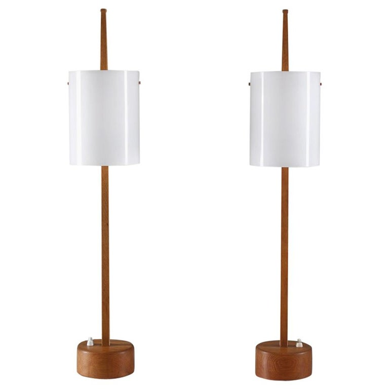 Swedish Midcentury Table Lamps in Acrylic and Oak by Luxus, 1960s For Sale