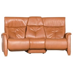 Himolla Designer Sofa Brown Leather Three-Seat Couch Recliner Function