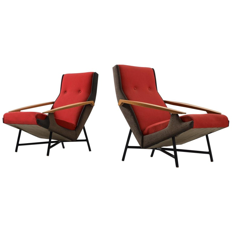 Claude Vassal Set of Two Lounge Chairs in Duo-Tone Upholstery For Sale