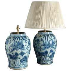 Large Pair of Blue and White Vase Lamps