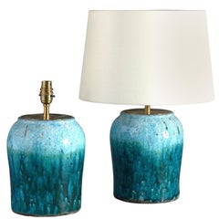 Pair of Turquoise Crackle Glaze Pottery Vases as Lamps