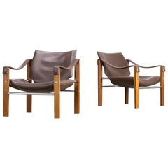 1980s Maurice Burke 'Safari' Leather Lounge Chair for Arkana Set or 2