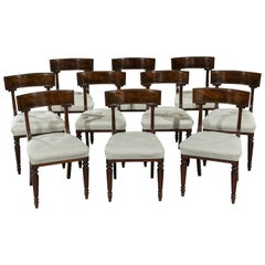 Set of Ten William IV Period Flamed Mahogany Dining Chairs