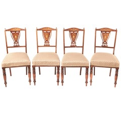 Set of 4 Edwardian Rosewood Inlaid Dining Chairs
