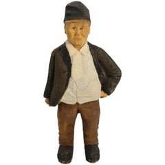 Swedish Vintage Sculpture Hand Carved Wooden Older Man Figurine, 1973
