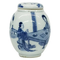 Kangxi, Chinese Porcelain Tea caddy and cover