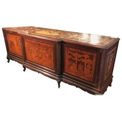 20th Century Louis XV Rosewood Inlaid Italian Shop Table Store Furniture