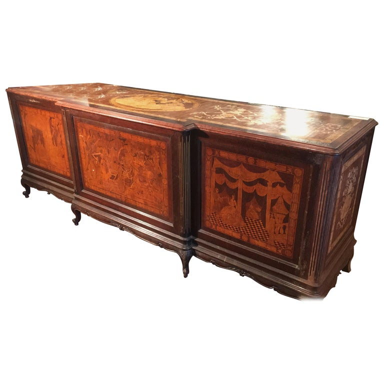 20th Century Louis XV Rosewood Inlaid Italian Shop Table Store Furniture For Sale