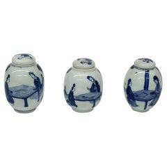 3 Small Chinese Porcelain Lidded Ginger Jars, 18th-19th Century