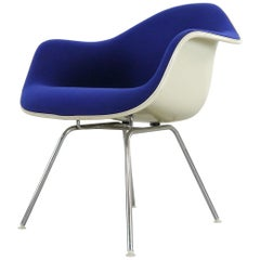 Blue Vintage Armchair with Low H-Base by Charles Eames for Herman Miller, 1970s