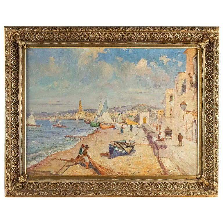 Balsamo Salvatore, Oil on Canvas Italian Marine Landscape, circa 1910 For Sale