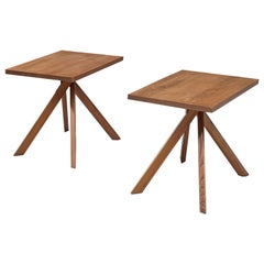 Pierre Chapo Pair of Elm Centre Tables 'Rectangulaire Duo' T27A