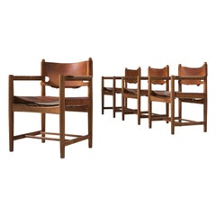 Børge Mogensen Set of Four '3238' Armchairs in Oak and Cognac Leather