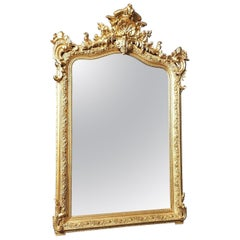 Louis XV Large Size Gilt Wall Mirror, France 1869