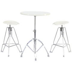 Yasu Sasamoto Enamelled Folding Table and Clipper Bar Stool for Dulton Co Ltd
