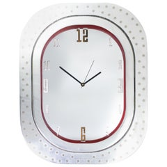 #007-Airbus A320 Window Clock, Polished Aluminium and Polished Face and Red