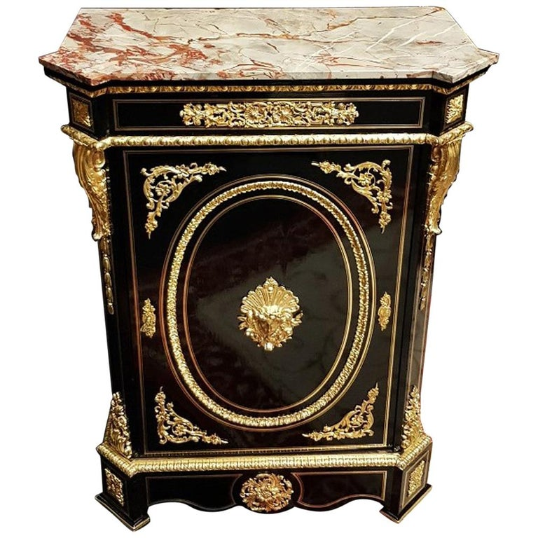 War Goddess Boulle Marquetry Cabinet, Napoleon III, France, 1869