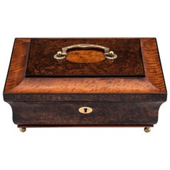 Antique Mulberry and Satinwood Jewelry Box 19th Century