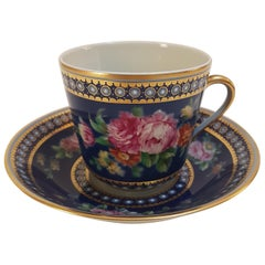 20th Century Hand Painted Vista Alegre Porcelain Collectible Tea Cup and Saucer