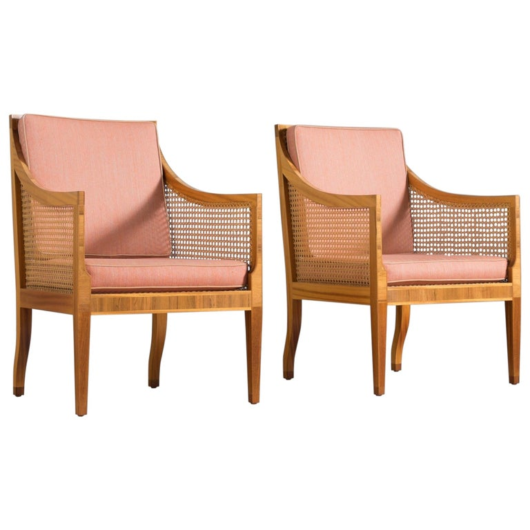 Kaare Klint for Rasmussen Pair of '4488' Easy Chairs with Fabric Upholstery For Sale