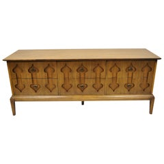 "Mid-Century Modern Low Walnut Credenza Cabinet Carved ""Spade"" Fruit"