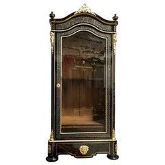 Impressive Bacchus Vitrine Bookcase Boulle Marquetry, Napoleon III France, 1869