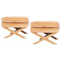Billy Baldwin Hollywood Regency Apricot Blush Velvet Cross-Legged Base Stool Set