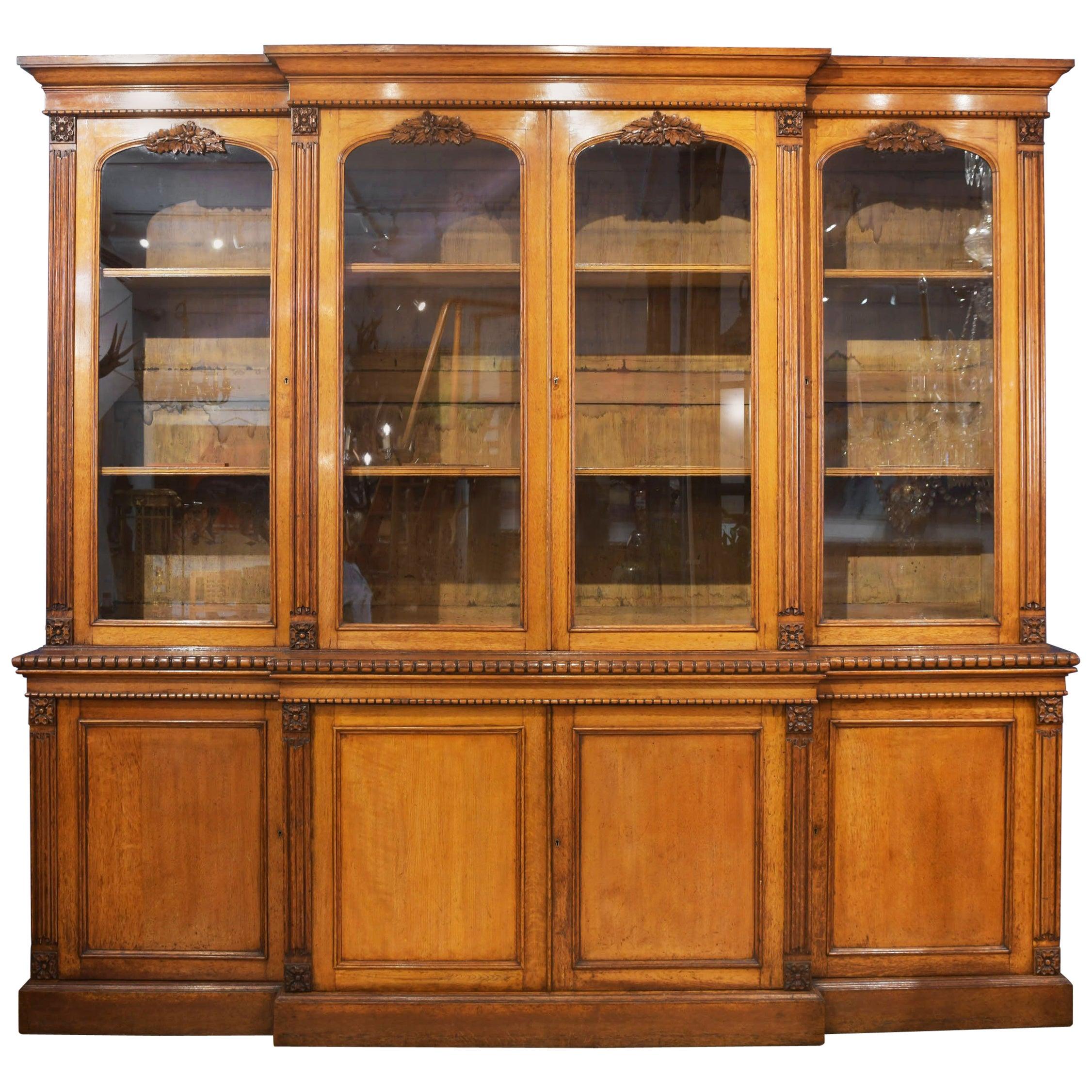 19th Century 4-Door Breakfront Oak Bookcase