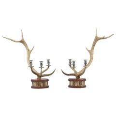 Pair of Red Deer Antler Candlesticks