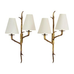 Pair of Bronze Sconces in the Style of Agostini